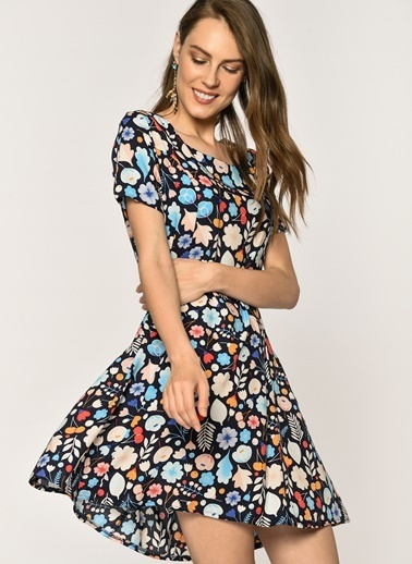 Loves You Sırtı Fermuarlı Çiçek Desenli Viskon Elbise Lacivert